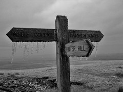 Great Hill Sign Post - EXPLORED :-) (Runhills2011) Tags: wood mist snow cold ice sign running whitecoppice lancashire bleak moor footpath icicles fell winterhill fingerpost darwentower explored greathill ldwa anglezarkeamble