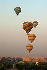Early Morning Flights over Medinat Habu (eLaReF) Tags: west westbank hotair balloon egypt bank nile hills luxor thebes theban