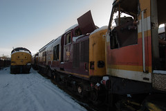 Scrapyard CF (True British Metal) Tags: rust br decay empty yorkshire tube police londonunderground scrapyard scrapping scrap derelict britishrail decayed lu demise scrapped ews class47 class37
