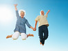 Senior couple having fun (Be-Younger.com) Tags: life old family light portrait sky people woman man male men love senior girl smile smiling modern female fun happy person togetherness jumping model holding hands women couple looking arms adult outdoor space joy lifestyle happiness excited full human mature together elderly barefoot romantic copyspace length retired copy enjoying caucasian