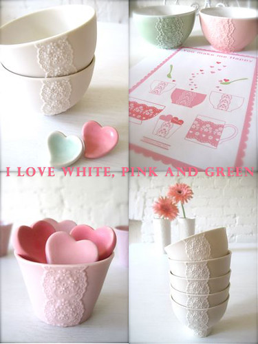 I love white, pink and green♡