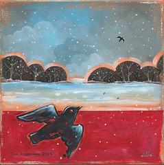 Winter Blackbird (Kimberly Naumann) Tags: blue winter red snow bird art birds painting landscape artwork acrylic folkart outsiderart contemporaryart snowing blackbird blackbirds acrylicpainting winterlandscape contemporaryfolkart