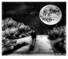A Walk On The Moon Trail (Peter Solano. Pursuing a dream!) Tags: bw moon night contrast walking stars sand couple rocks explore trail