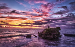 Tanah Lot at Sunset (Sarmu) Tags: ocean sunset wallpaper sky bali nature rock architecture indonesia landscape temple highresolution asia view outdoor widescreen landmark icon 1600 highdefinition resolution 1200 hd wallpapers iconic hdr 1920 goldenhour tanahlot denpasar ws 1080 rockformation 1050 720p 1080p 1680 720 puratanahlot 2560 tabanan kediri sarmu