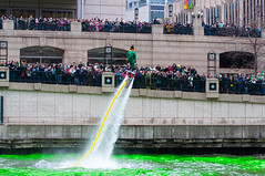 Wowing The Crowd (benchorizo) Tags: irish chicago green colors nikon cityscape crowd event chicagoriver stpatricksday leprechaun chicagoist banias flyboard waterpropulsion greeningofthechicagoriver benchorizo