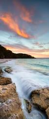 Fire and Water (Luke Tscharke) Tags: longexposure sunset sky panorama colour beach water beautiful yellow geotagged flow movement action vivid nsw 24mm tse jervisbay murraysbeach tiltshift vertorama geo:lat=3512585166319898 geo:lon=15076164722442627