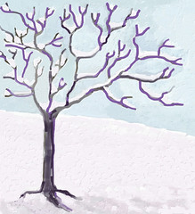 Snow and Tree (Digital Impasto) Day 3 FInal (randubnick) Tags: snow tree art digitalart digitaloilpainting painter12 digitalimpasto