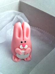 Marzipan bunny (drumthwacket) Tags: pink rabbit bunny brooklyn easter ears marzipan agoraphobia beadyeyes bakerybox bettybakery uprightbiped