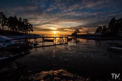 Sunset at Huk (Tomasz Majewski) Tags: blue trees sunset sky orange reflection water oslo norway photography golden boat norge calm hour majewski huk tomasz