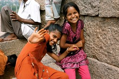 """Stop taking pictures !!!"" (louise garin) Tags: girls india smile colorful enfants sourire copine filles inde color"