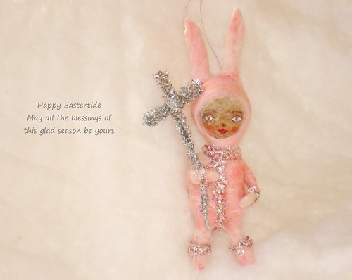 Spun cotton Easter ornament OOAK vintage craft by jejeMae