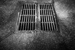The Unknown (Thomas Pohlig) Tags: series blackandwhite monochrome grate rust rusted rustedmetal light shadow fineart cement abstract texture abandoned storm drain