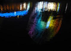 Rainbow Wheel Reflection (.annajane) Tags: liverpoolpride comeoutoftheshadows lights coloured wheel liverpool uk england merseyside pride projection light rainbow kingsdock water reflection night abstract echowheel liverpoolbigwheel liverpoolpride2016