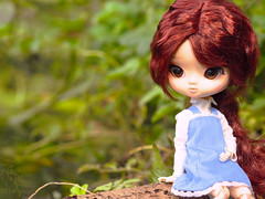 Where did everybody go? (Malina (LaelP)) Tags: doll groove obitsu pullip daughter yeolume podo rose rosie blue dress brown eyes wig rewigged full custom mikiyochii faceup cute river outdoor toy toys forest puppe mueca poupe