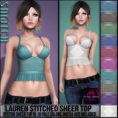 Sn@tch Lauren Stitched Top Pastels Vendor Ad LG (Tess-Ivey Deschanel) Tags: sntch snatch secondlife sl second style sexy life clothing clothes costumes clubwear casual couture mesh model meshclothing meshclothes models omegasystem outfits omega summer cyberpunk iveydeschanel ivey ihearts specials new newrelease newreleases punk pixels deschanel