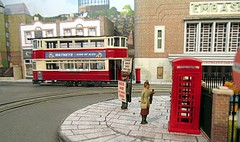 Streetlife 1950 [Explored] (kingsway john) Tags: model tramway tram oogauge 176 scale london transport diorama k6 kiosk telephone box sandwich board embassy cinema kingsway models
