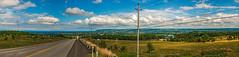 Beaver Valley Panorama (fotofrysk) Tags: panorama beavervalley beaverriver greyroad40 clouds blue sundaydrive discoveringontario roadtrip canada ontario collingwood nikond7100 georgeanbay bluemountains twelveshotstitch hydropoles