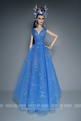 Blue Goddess Dress (Culte De Paris) Tags: blue goddess dress flower crown handmade elise engaging fr fr2 fashion royalty brunette sheer gown it integrity toys culte de paris julia leroy jason wu haute couture evening wear red carpet special occasion fashionista style outfits parisian