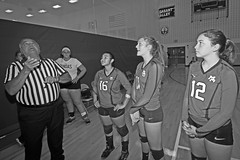 IMG_9490 (SJH Foto) Tags: girls volleyball high school mount olive mt team tween teen teenager varsity tamron 1024mm f3545 superwide lens pregame ceremonies ref referee captains coin toss black white blackandwhite bw monocolour