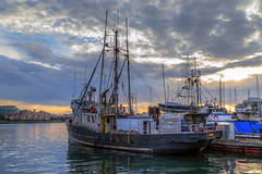 Zapora (Paul Rioux) Tags: britishcolumbia bc vancouverisland victoria jamesbay fishermanswharf marine waterfront commercial fishing boat vessel transportation outdoor fishboat fisherman zapora morning daybreak clouds calm water reflections