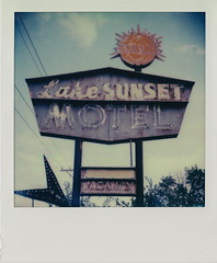 Lake Sunset Motel (DavidVonk) Tags: vintage instant analog film polaroid slr680 impossibleproject sign neon neonsign ghostneon rusty motel sun fremont old lincoln highway lincolnhighway