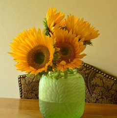 Sunny Bouquet 2 (Reed 1949) Tags: sunflower flower yellow green vase bouquet glassware nikon nikond5200 tamron18270