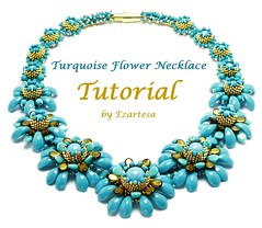 Turquoise flower tutorial (Ezartesa) Tags: tutorial seedbeadtutorial necklacetutorial seedbeadpattern howtobead ezartesa beadweavingtutorial