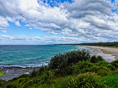 Before the southerly change (elphweb) Tags: falsehdr fhdr beach ocean foliage scrub sand water waves sky skies clouds