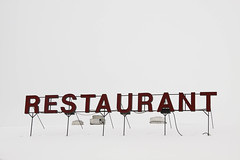 restaurant easily spotted in snowy background (thermophle) Tags: roof sky snow sign wisconsin restaurant 6ws belgium hobo lakechurch