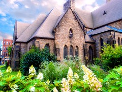 Stone Church (brooksbos) Tags: city flowers summer sky urban church boston stone skyline architecture clouds geotagged ma photography photo day cityscape afternoon cloudy newengland olympus historic bostonma southend bostonist masschusetts lurvely 02116 thatsboston xz1 brooksbos