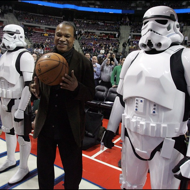Billy Dee Williams brought the game ball before the #Detroit #Pistons-Atlanta Hawks game Friday, Jan. 4, 2013 at The Palace of Auburn Hills, where it was #StarWars night. KIRTHMON F. DOZIER/Detroit Free Press