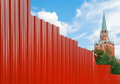 fence_resize (Olga Antipenko and Yury Gubin) Tags: old city blue red sky urban building brick tower tourism monument wall museum architecture fence garden outdoors star cityscape russia designer moscow label traditional famous capital culture center structure spire communist communism alexander redsquare shape built kremlin oldfashioned troitsky troitskaya
