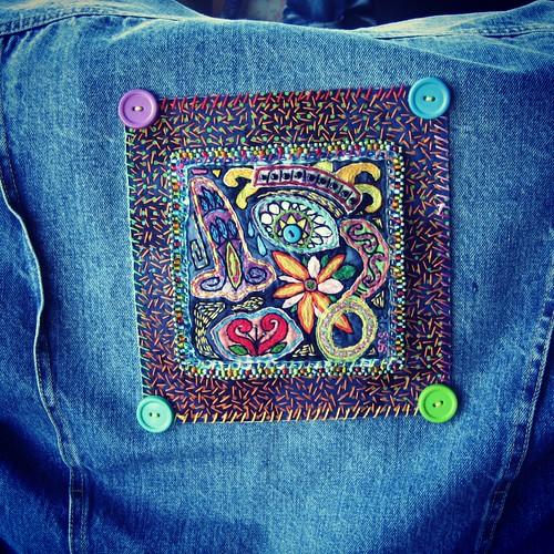 art embroidery fiberart beading jeanjacket