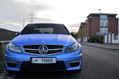 Blue Beast. (ImZaidHamid) Tags: blue black mercedes benz al nikon paint bokeh leicester wrap 63 filter mercedesbenz thani rims matte amg qatar merc polarised polarising althani qatari 15665 c63 18105mm worldcars d5100