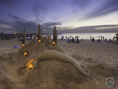 Dolphin Sandcastle (DownTheLens) Tags: people castle beach fire twilight sand dusk dolphin bluehour sandcastle omd nauticaltwilight omdem5
