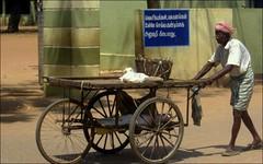 Hand cart and Old man (Vincentdevincennes) Tags: portrait people india man south streetlife thanjavur handcart tamilnadu