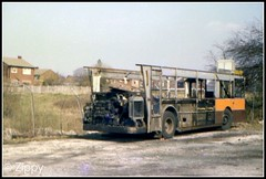 Fire Damaged Remains (Zippy's Revenge) Tags: bus garage transport stockport vehicle depot standard daimler fleetline withdrawn charlesstreet gmpte greatermanchester pte 7422 northerncounties ncme gnc287n