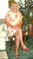 Yellow/Red Dress (bobbievnc) Tags: tv highheels dress legs cd tgirl short blonde pantyhose crossdresser nylons shemale tanpantyhose