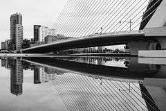 mirror of grace (Kim S. Landgraf) Tags: street city bridge urban blackandwhite bw streets reflection tower valencia monochrome skyline architecture skyscraper blackwhite spain kim empty streetphotography olympus calatrava streetphoto 20mm emptiness spanien towerblock omd grafic bruecke streetphotographer inpublic kimlandgraf em5 kimslandgraf