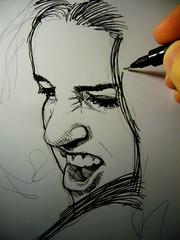 20130219213 (lindenb) Tags: portrait woman girl illustration pencil paper sketch hand drawing retrato finger main dessin sheet papier feuille homingpigeon stylo feutre