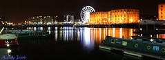 Reflections in Albert Dock, Liverpool (Mandy Jervis Photography - Beady's World) Tags: eye water night liverpool reflections lights dock colours albert barges