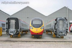 T001-00236 (railphotolibrary.com) Tags: england urban electric modern train birmingham europe factory railway virgin heath production facility electrical alstom sheds frontview 390 pendolino depots uk1 washwood bodyshells