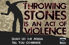 Throwing Stones is an Act of Violence (HonestReporting.com) Tags: news rock stone israel newspaper blog media symbol palestine injury fair honest international land violence conflict coverage journalism throw mideast critique palestinian reporting bias injure backspin honestreporting