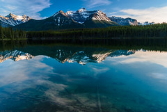 Mountain reflections in lake (Martin Thielmann) Tags: ab herbertlake nearlakelouise reflectionsinlake mountainsofcontinentaldivide