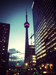 My favourite Loch Ness Monster. Today in purple. (Arwy) Tags: toronto cntower unionstation uploaded:by=flickrmobile flickriosapp:filter=mammoth mammothfilter