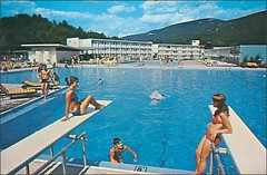 travel vacation vintage advertising kitsch roadtrips pools 1950s postcards leisure summertime hotels 1960s poolside advertisements inns motels midcentury lodges motorinns