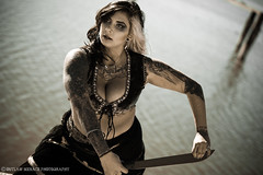 Ina ST. @ The Salton Sea (OutlawMenacePhotography) Tags: california light red sea lake hot cute sexy beach beautiful ink pose outside spring dangerous model sand pretty gorgeous large makeup posed tattoos valley sword imperial blade machete gypsy talented saltonsea crystalball seer tats
