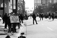 worst parade ever (clay.wells (Explorer of the High Ozarks)) Tags: street city white black monochrome rock race canon photography eos prime mono march downtown little mark clayton marathon wells ii 5d usm ef 135mm img0078 2013 f2l