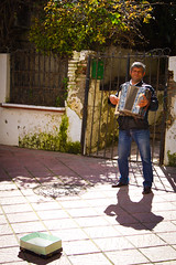 I gave him money so at least two photos please (Phil_Lid) Tags: beach sunshine busker torremolinos southspain accordianplayer