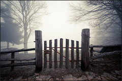 Beyond the Gate [ Explored ] (beppeverge) Tags: light sunset gate tramonto nuvole fav50 fav20 le beyond nebbia luce cancello valsesia fav10 fav100 fav200 fav300 explored tovo montetovo fav500 fav400 photographyforrecreation beppeverge alpeggiotovo
